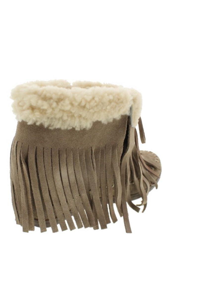 Koolaburra Womens Mocky Moc Suede/Sheepskin Wedges Moccasin Boots Taupe 10