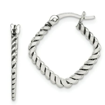 Sterling Silver Antiqued Twisted Square Hoop Earrings