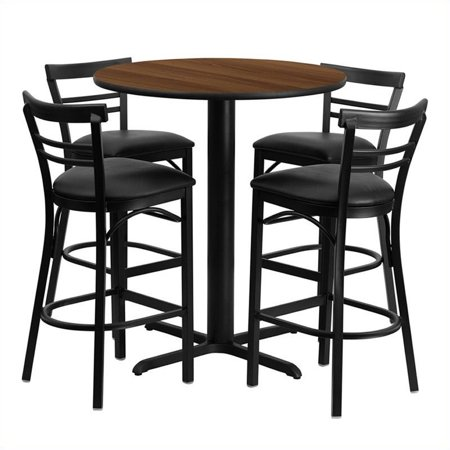 Bowery Hill 5 Piece Round Laminate Table Set in Walnut and Black