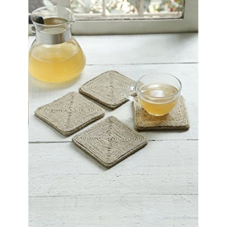 Friendly Village Coaster - Set of 4 Jute Coasters Absorbent Non Slip Protect Furniture Eco-friendly Drink Coasters