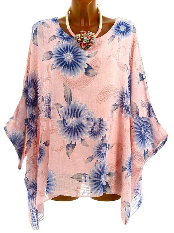AKFashion Women's Plus Size Irregular Long Sleeve Round Neck Linen Floral Blouse Shirts Tops