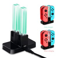 Charging For Nintendo Switch Joy-Con Controllers 4 in 1 Joy-Con Charger Station with Individual LEDs indication