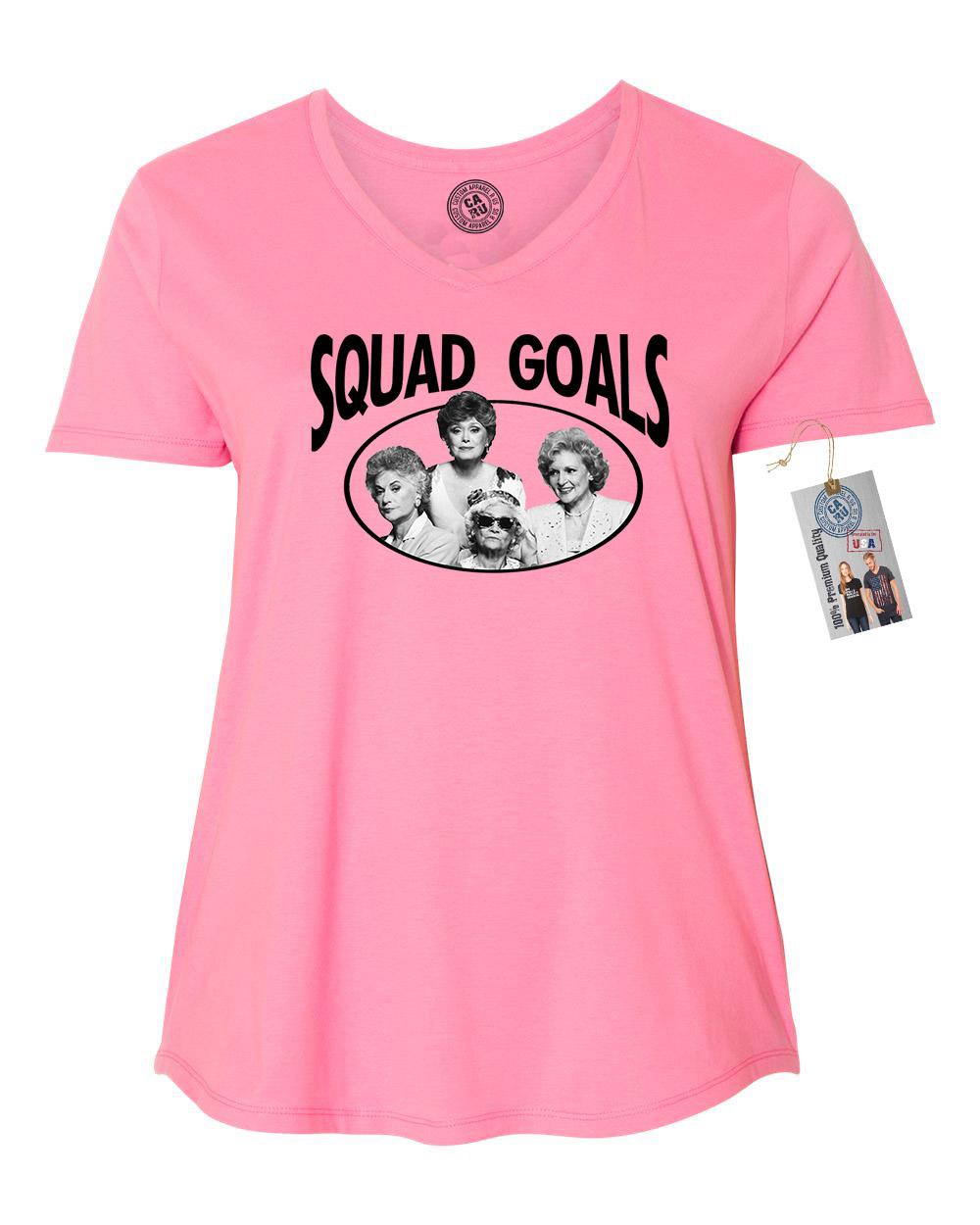 Golden Girls TV Show Squad Goals Plus Size Womens VNeck Shirt Top