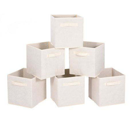 8d549adcfaad MaidMAX Nonwoven Cloth Organizer Set of 6 Foldable Storage Cubes Basket Bin  with Dual Handles, Beige,6 packs