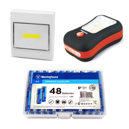 Everyday Household Combo Pack- Includes 48AA Alkalines, 2 in 1 Flashlight, and Multipurpose Flashlight