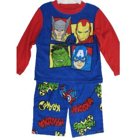 Avengers Little Boys Royal Blue Superheroes Character Print 2 Pc Pajama Set 4-6