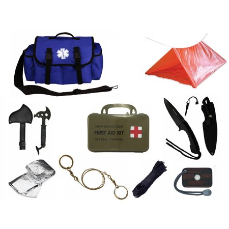 Ultimate Arms Gear Deluxe Blue Emergency Survival Rescue Bag Kit  Signal Mirror  Polarshield Blanket  Knife Fire Starter  Wire Saw  50 Foot Paracord  Camping Tube Tent   First Aid Kit
