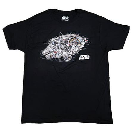 - Star Wars Millennium Falcon Blueprint Mens Shirt (Large) W14