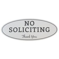 "no soliciting sign - laser engraved sign (medium - 2.8"" x 7"", brushed silver with black letters)"