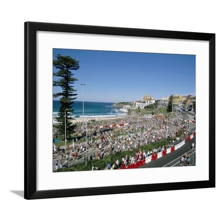 Competitors in the Annual City to Surf Race at the Finish in Bondi, New South Wales, Australia Framed Print Wall Art By Robert Francis 24' Antique Finish Surf Decor