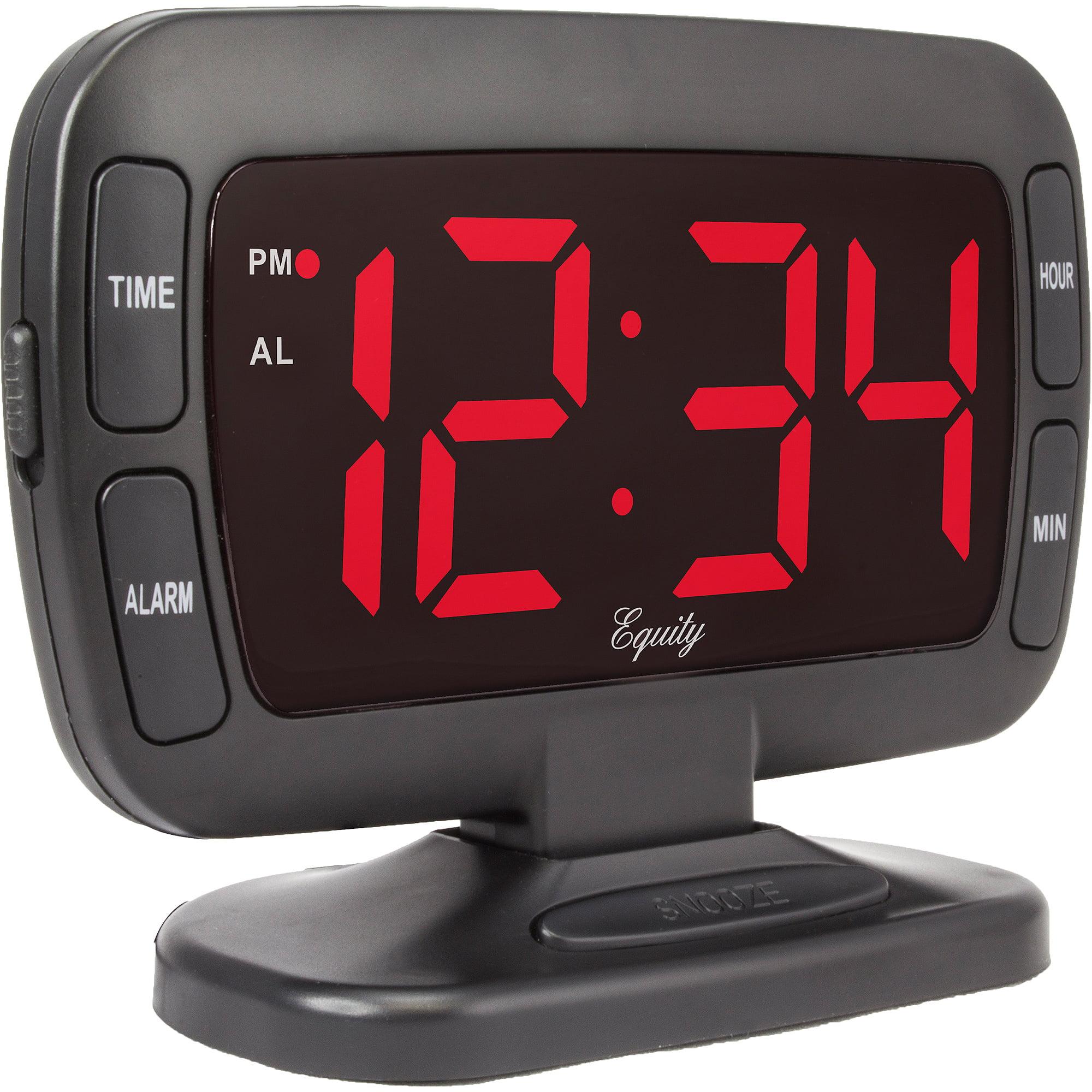 Black Tilt Alarm Clock Red Led Clear Large Display Dimmer Backup Battery Bedr