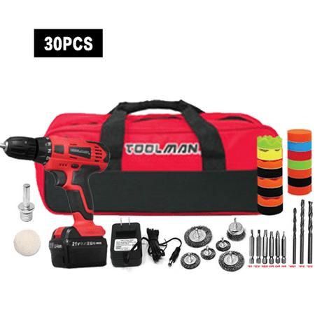 21V Electric Heavy Duty Cordless Drill Kit with Drill set +Polishing kit
