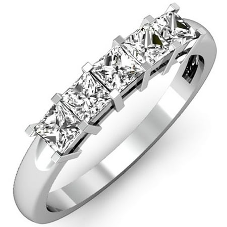 18k White Gold 5 Stone (Dazzlingrock Collection 0.75 Carat (ctw) 18K Princess Diamond 5 Stone Bridal Wedding Ring 3/4 CT, White Gold, Size)