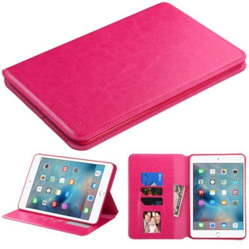 Insten Premium Slim fit Leather Stand Case for Apple iPad Mini 4 4th Gen 2015 (with Card Slot Holder) Hot Pink