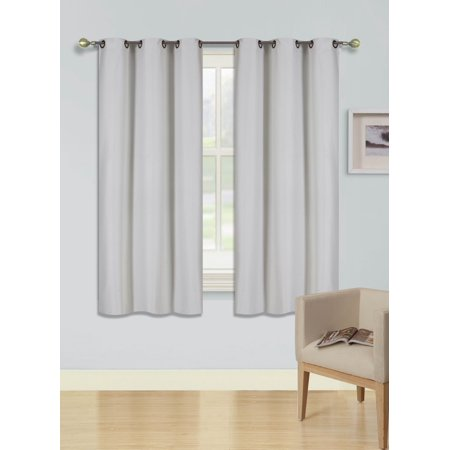 "(SSS) 2-PC Ivory Solid Blackout Room Darkening Panel Curtain Set, Two (2) Window Treatments of 37"" Wide x 63"" Length Each Panel"