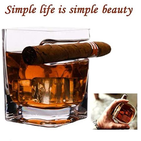 Ergonomically Designed Cigar Whiskey Glass,with Cigar Holder Transparent 11 OZ - image 6 de 7