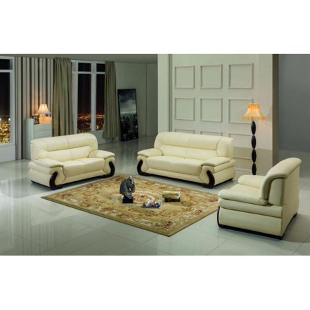 Maxwest P277-BG Modern Beige Genuine Leather Sofa Loveseat and Chair Set 3  Pcs