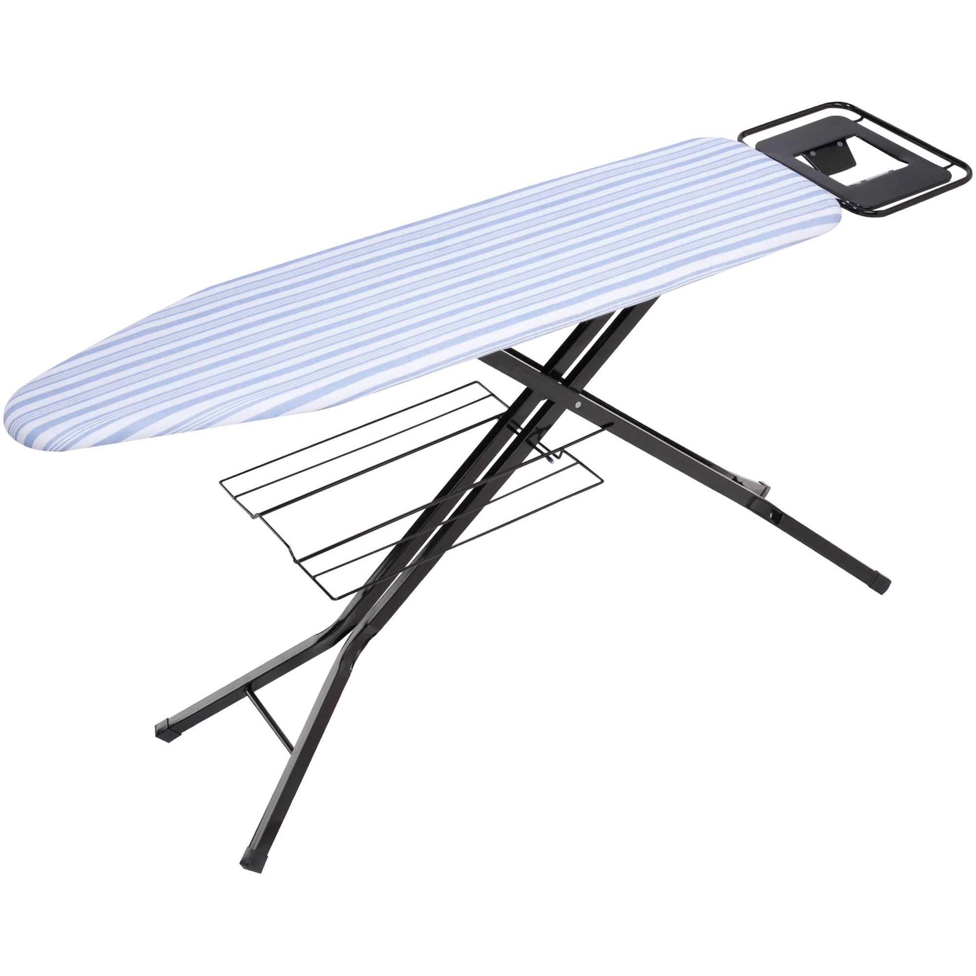 Honey Can Do Ironing Board with 4-Leg Stand and Iron Rest, Black/Blue