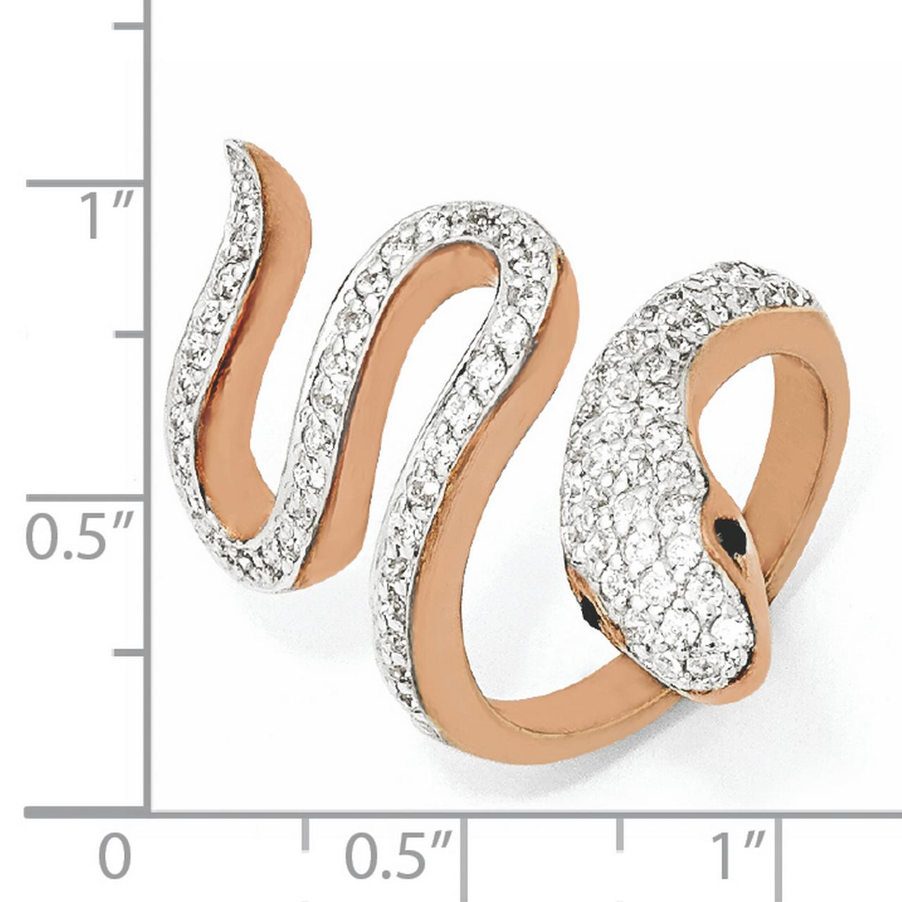 Cheryl M Sterling Silver Rose Gold-Plated Black & White CZ Snake Ring Size 8 - image 2 of 3