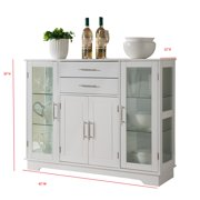 White Wood Kitchen Buffet Display Cabinet With Storage Drawers Glass Doors Image 3