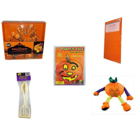 Halloween Fun Gift Bundle [5 Piece] - Wilton Autumn 8-Piece Cookie Cutter Set - Bright Pumpkin Orange Plastic Table Cover  - Darice Pumpkin Face Fun Felt Kit - Stitches - Skeleton Server  - Pumpkin