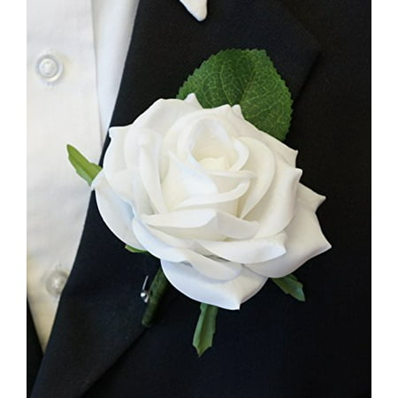 Large Boutonniere - Live-Feel Real Touch White keep sake Boutonniere.Pin included ...