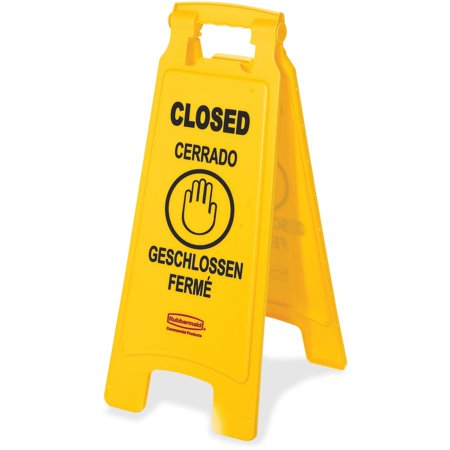 Rubbermaid Commercial, RCP611278YW, Closed Multi-Lingual Floor Sign, 1 Each, Yellow