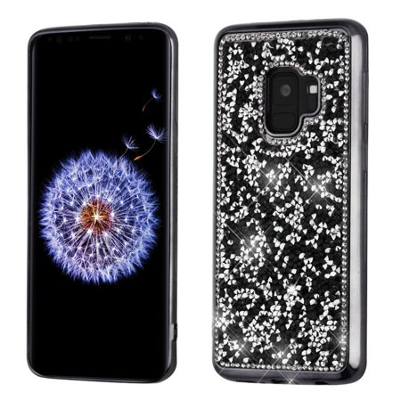 Insten Mini Crystals Rhinestones Desire TPU Rubber Candy Skin Case Cover With Diamond For Samsung Galaxy S9 Phone Case - Black