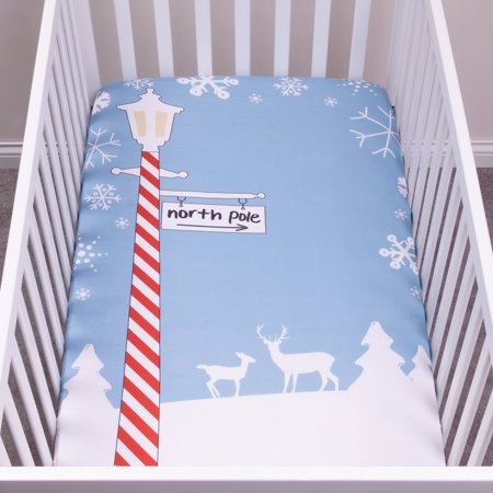 My Tiny Moments North Pole Flannel Photo Op Fitted Crib