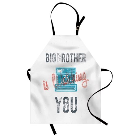 Icon Analogue Watch - Vintage Apron Half Toned Big Brother Quote with Old-Fashion Analogue Camera Icon Book Web Print, Unisex Kitchen Bib Apron with Adjustable Neck for Cooking Baking Gardening, Blue Grey, by Ambesonne