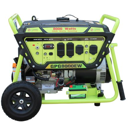 Green-Power America Gas Generator w/Electric Start Pro Series GPG8000EW delivers 8000 watts of starting power and 6500 watt of continious power.