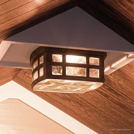 """Urban Ambiance Luxury Craftsman Outdoor Ceiling Light, Small Size: 5.75""""H x 12""""W, with Tudor Style Elements, Highly-Detailed Design, Oil Rubbed Parisian Bronze Finish and Water Glass, UQL1249"""