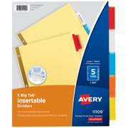 Avery 5-Tab Dividers, Insertable Multicolor Big Tabs, 1 Set (11109)
