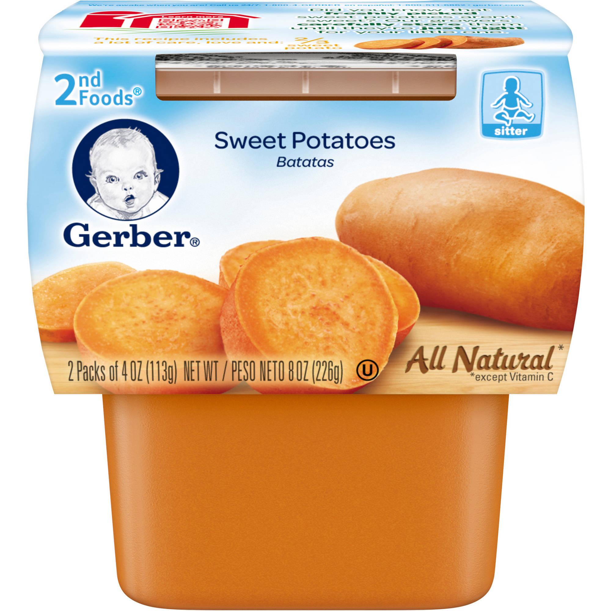 Gerber 2nd Foods Sweet Potatoes Baby Food, 4 oz, 2 count, (Pack of 8)