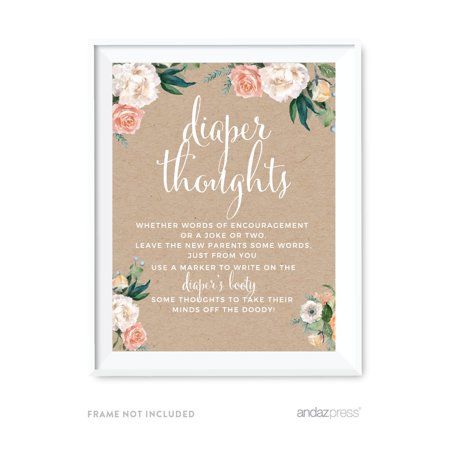 Peach Rustic Floral Garden Party, Diaper Thoughts Party Sign, 8.5x11-inch, 1-Pack, Games - Princess Peach Adult Games