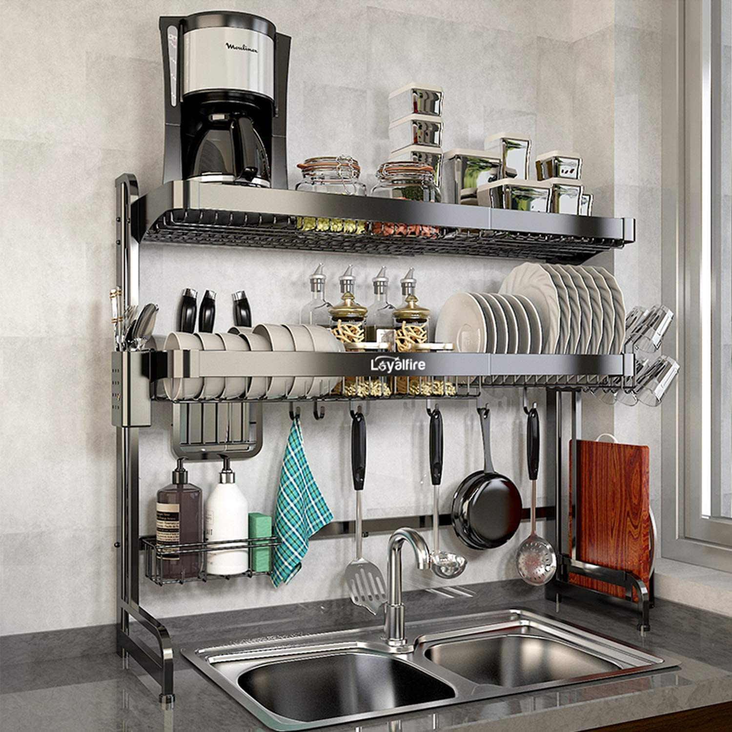 Over Sink Dish Drying Rack Loyalfire 2 Tier Stainless Steel Large Storage Adjustable Kitchen Dish Rack 24 41 37 6 Expandable Dish Drainer Shelf Rack With Utensil Holder And Cup Hanging Set Walmart Com