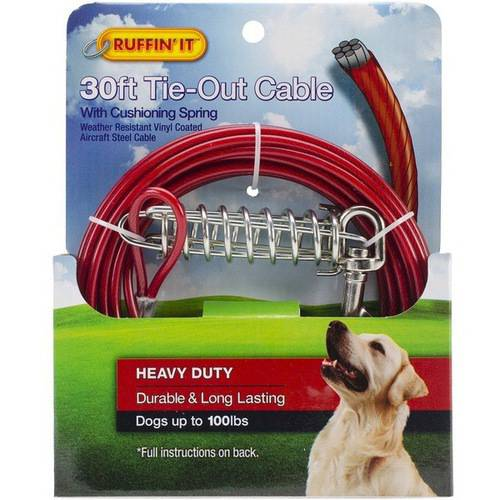 Heavy Duty Cable Tie Out with Cushioning Spring, 30'