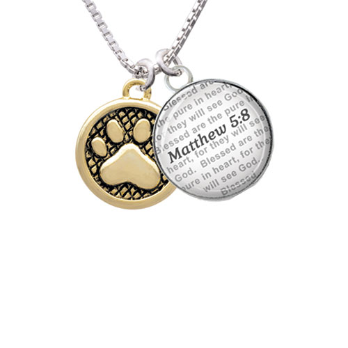 Gold Tone Paw in Circle - Bible Verse Matthew 5:8 Glass Dome Necklace