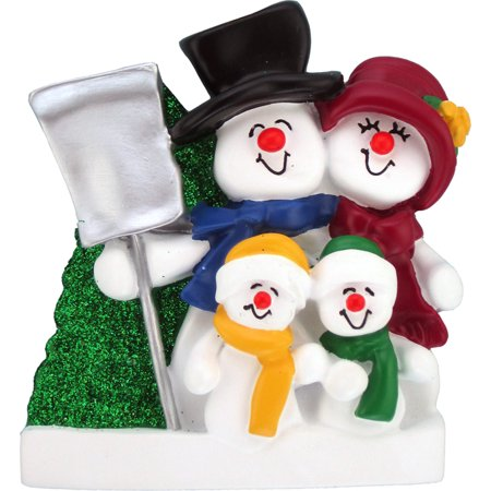 Snowman Family 2 kids Personalized Christmas Ornament DO-IT-YOURSELF (Kids Christmas Ornaments)