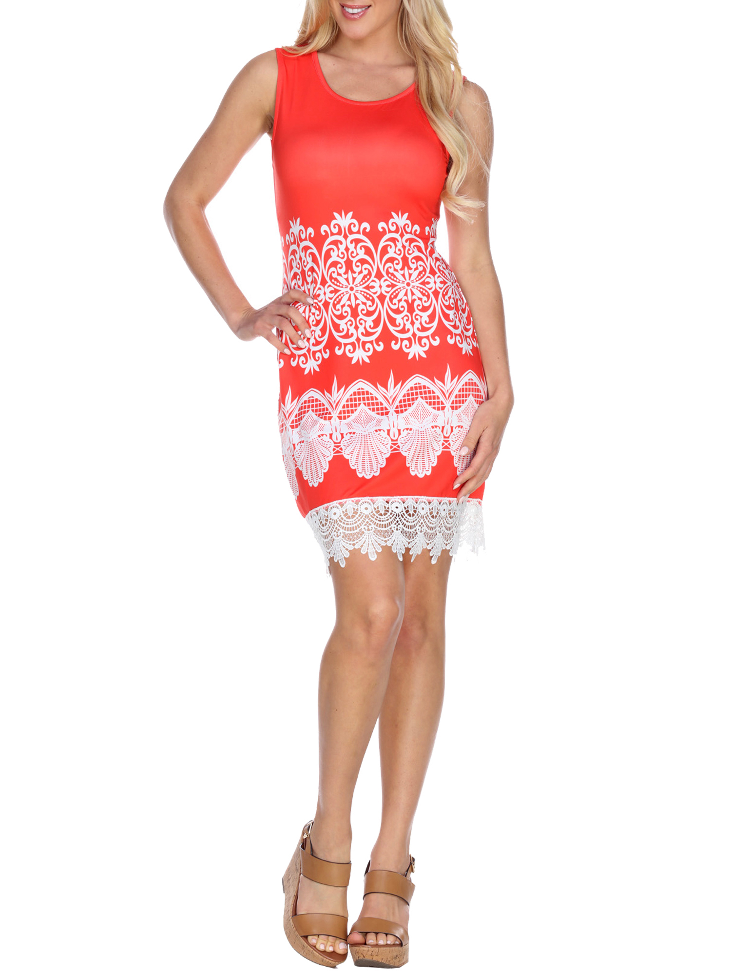 Women's Printed Crochet Trim Mini Dress