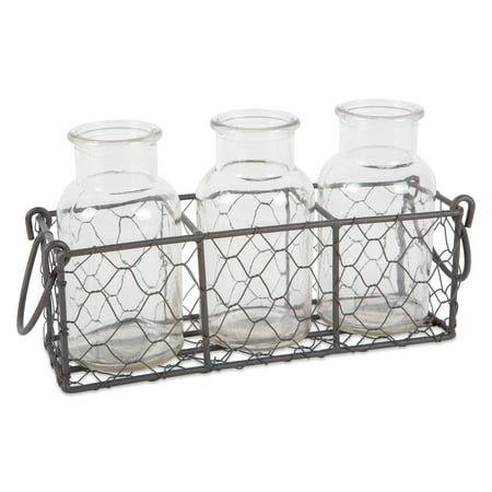 DII Rustic Farmhouse Vintage Chicken Wire Flatware Caddy with Clear Glass Vases - (House Glass Vase)