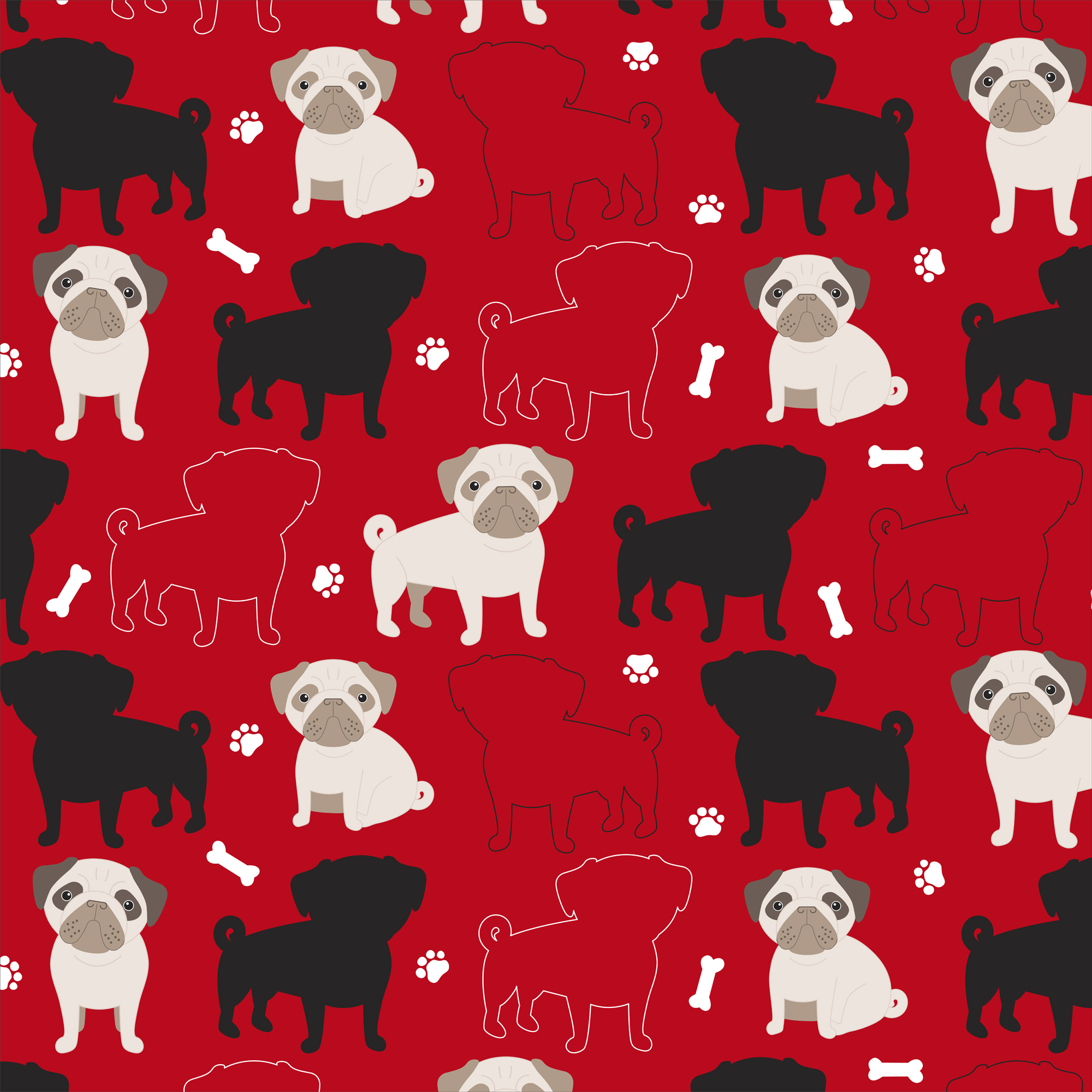 "David Textiles Fleece 36"" x 60"" Oh My Pugness Red Anti-Pill Fabric, 1 Each"