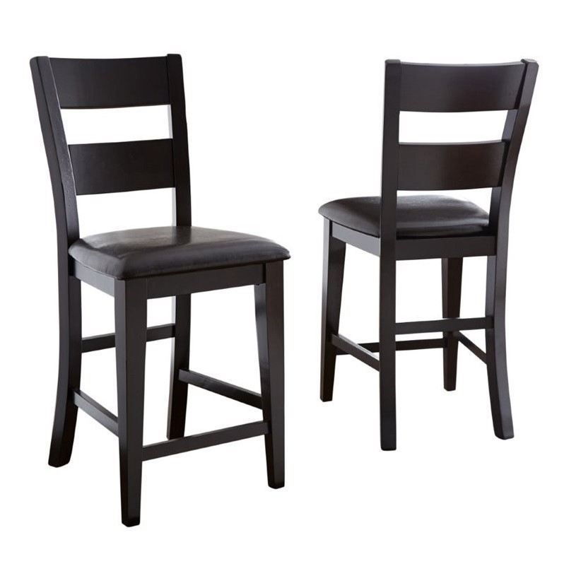 Steve Silver Company Victoria Dark Brown Upholstery Counter  Dining Chair in Mango Finish (set of 2)