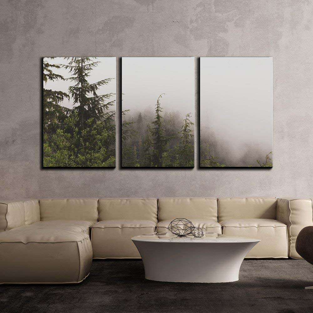 Wall26 3 Piece Canvas Wall Art Pine Tree Forest On A Foggy Day Modern Home Decor Stretched And Framed Ready To Hang 24 X36 X3 Panels Walmart Com Walmart Com
