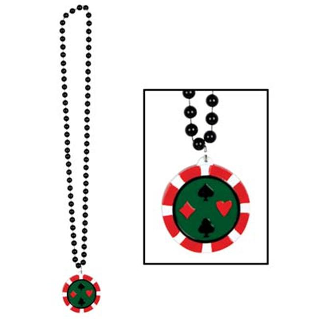 Beistle 50454 - Beads With Poker Chip Medallion - 36 Inches- Pack of 12