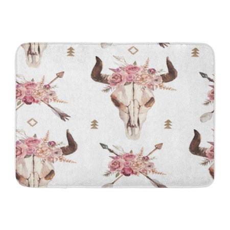 KDAGR Watercolor Boho of Arrows Bull Skull Horns Floral Arrangement Doormat Floor Rug Bath Mat 23.6x15.7 inch