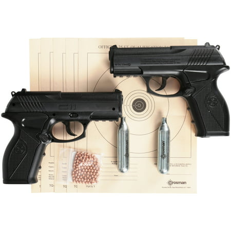 Series Double Pistol (Crosman Double Down Action .177 Caliber Semi-Auto CO2 Air Pistol Bundle, 480fps )