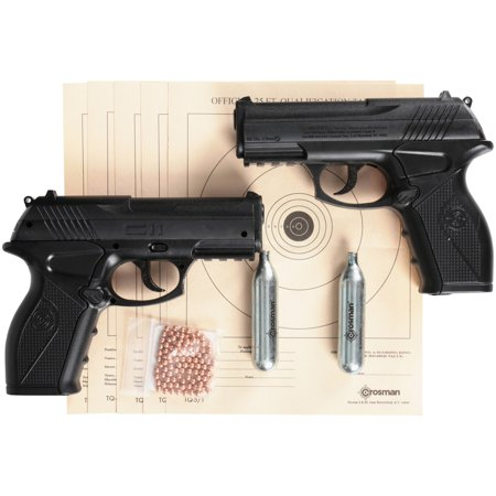 Crosman Double Down Action .177 Caliber Semi-Auto CO2 Air Pistol Bundle,
