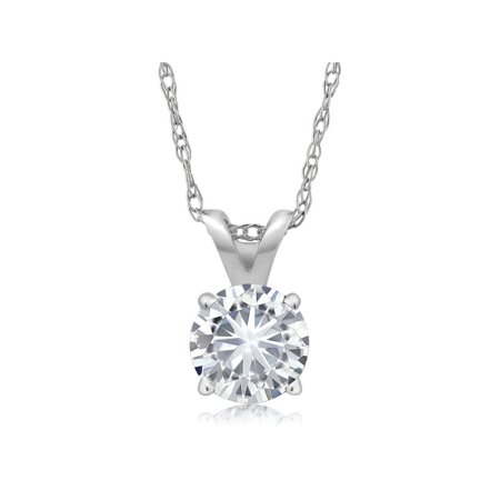 Charles & Colvard Forever Classic 4.5mm 0.33ct DEW Created Moissanite 14k White Gold Solitaire Pendant Round 4 Prong With 18