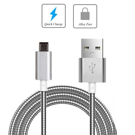 Metal Braided USB Cable Charger Power Sync Wire Micro-USB Data Cord [Silver] [Fast Charge Support] KZR for UNLOCKED Samsung Galaxy S6 Edge - Straight Talk Samsung Galaxy S5 - Net10 Samsung Galaxy S6